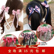 South Korea cute children beautiful ribbon top hairdressing tiara headdress accessories girl ribbon hairpin 1 pair.