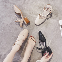 ZHR2019 new summer Baotou sandals womens thick with the heel shoes mule shoes Fairy with skirt shoes
