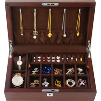 Jewelry box wooden double storage jewelry box watch storage solid wood stick belt lock simple jewelry collection