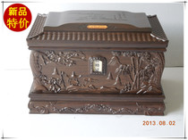 Urn black sandalwood A (pine bamboo garden)carved fine solid wood urn SF gift funeral goods
