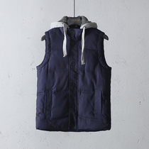 Easy net preferred quality mens mens cotton yarn card thickened autumn and winter outdoor leisure with cap cotton vest