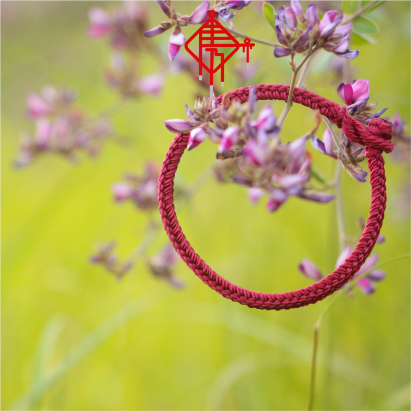 2020 Rat Year new hand rope can wear pearl ancient wind men and women red rope this year pure hand-woven (four-sided Buddha)