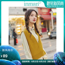 Yin Man 2019 autumn new sleeveless short sweater vest vest female wear v-neck college wind jacket loose