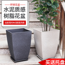 Global produced square large diameter imitation cement style simple European-style living room balcony floor high pots P529