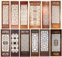 Chengdu antique wood carving Chinese TV film and television background wall decoration Solid Wood Hollow flower lattice door and window entrance partition