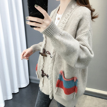 Autumn lazy wind cardigan sweater 2019 new womens early autumn net red loose knit jacket female spring and autumn tide