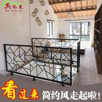 Simple wrought iron stairs handrails solid wood balcony fence attic decoration corridor railing handrails indoor fence home