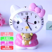 Childrens cute cartoon speech talking table creative luminous mute bedside student music snooze small alarm clock