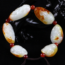 One yuan auction Xinjiang Hetian jade original stone seed material bracelet Fortuna hand string men and women models the auction is coming to an end