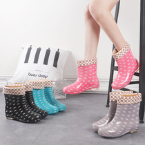 Rain boots female Winter Warm chic new tube plus cotton rain boots non-slip kitchen shoes flat water boots shoes women