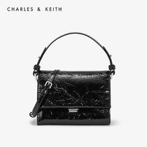CHARLES & KEITH2019 autumn new CK2-80780952 vintage plaid ladies flip shoulder bag
