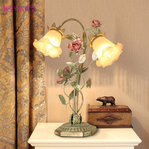 Korean table lamp idyllic flower bedroom bedside lamp wedding creative personality warm romantic wedding gift table lamps