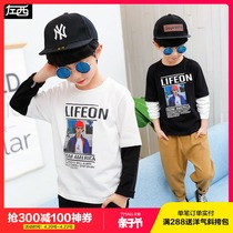 Left West boy long-sleeved T-shirt spring 2019 New childrens primer shirt cotton in the big boy two Korean version of the tide