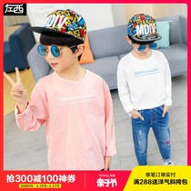 Left West childrens clothing boys long-sleeved T-shirt spring 2019 New childrens bottoming shirt in the spring and autumn Children Korean version of the tide