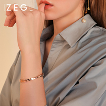 ZEGL Roman numeral bracelet female rose gold plated simple Joker niche red lettering titanium steel bracelet hand jewelry