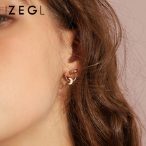 Stars moon earrings female asymmetric temperament Korean personality simple earrings to sleep without picking earrings