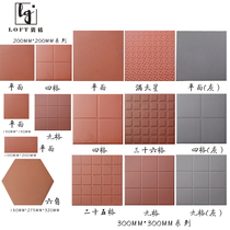 Red cylinder brick red floor tile 300 non-slip hotel kitchen dedicated 200 water-absorbing tile Gray dampproof Minnan hotel brick