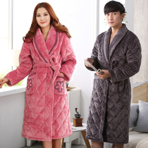 Robe female winter thickening plus long cotton pajamas couple winter big code coral Velvet cotton Warm mens bathrobe winter
