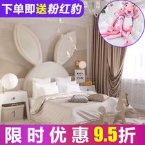 European-style fabric childrens bed girl modern minimalist single cartoon rabbit ears bedroom storage girl princess bed