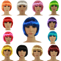 Cos wig boys and girls adult exaggerated color wig makeup ball student hair wave head bobo Hood