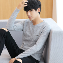Autumn new mens thin section V-neck sweater trend personality sweater Korean slim winter pullover