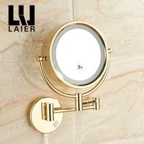 LYLE Lele bathroom golden beauty mirror with LED lights double-sided beauty mirror punch wall beauty mirror
