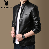 Playboy fall leather jacket men handsome motorcycle leather men slim Korean pilot menS PU leather jacket