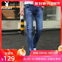 Playboy mens jeans slim Tide brand 2019 summer New feet pants male Korean trend mens pants