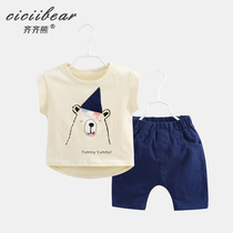 Qi Qi bear male and female baby cotton short-sleeved suit 2019 summer new baby cartoon bear T-shirt two-piece