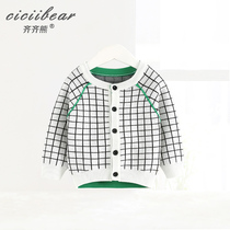 Qi Qi Bear 2019 Spring new baby plaid cardigan sweater infant cotton round collar knitted shirt