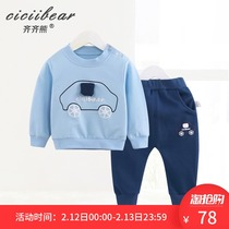 Qi Qi bear spring 2019 New men and women baby out suit infant printing cartoon car two-piece