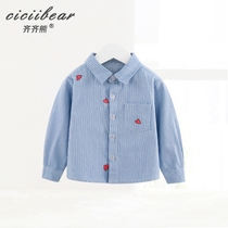 Qi Qi xiong nan baby shirt infant cotton striped long-sleeved shirt new cartoon love print Top