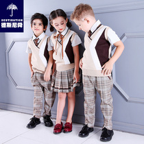 Kindergarten clothing spring and autumn childrens uniforms cotton sweater vest boys and girls British college wind suit autumn and winter
