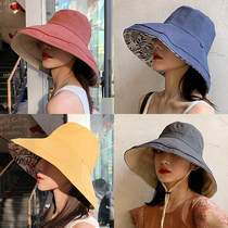 Fishermans hat womens summer net red Korean version of the Japanese big hat eaves sun hat double-sided face shade uv sun shade hat