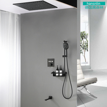 Germany Black Forest Dark embedded wall ceiling shower thermostat supercharged shower household European full copper suit