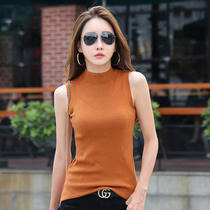 Sling woman Spring 2019 new high Collar Lady knitted vest female sweater outside wearing sleeveless inside the bottom top
