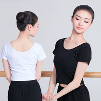Adult dance dress practice clothes female Latin clothing exposed umbilical shirt black short-sleeved Jazz suit modern womens summer