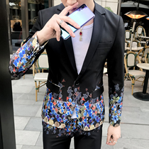 Korean version of trend tight printed suit men host singer show dress mens crushed flower small suit hairstylist coat