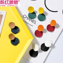 Korean version of the retro personality Earrings Fashion matte stitching circle hit color earrings female temperament simple earrings earrings jewelry