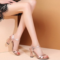 2019 summer new high-heeled sandals female Europe and the United States fashion wild word buckle open toe thick with silver work shoes