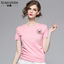 Summer short-sleeved mercerized cotton T-shirt female European Station fashion pig sequins beaded thin compassionate female pink shirt