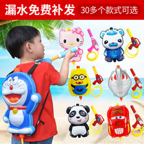 Summer Beach Childrens large backpack water gun variety cartoon backpack bared gun high-pressure pull-out water gun toys