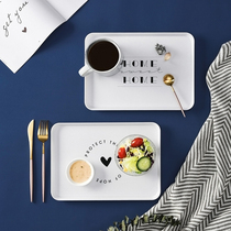 Creative Nordic wind rectangular plate Home simple breakfast plate plastic fruit tea tray dessert tray