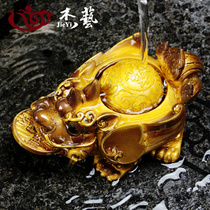 Color-changing tea pet ornaments boutique creative sprinkled water gold tea pet kung fu tea set tea ceremony play accessories can be raised