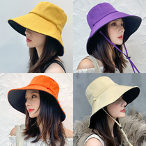 Fishermans hat female summer Korean version of the tide day line net double-sided face-proof UV hat big edge sun hat sun hat
