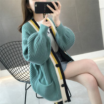 2019 Spring new Womens and Korean version of color striped medium knitted cardigan female sweater hundred lazy jacket