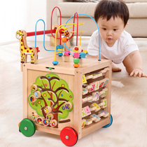 Baby walker trolley baby child treasure chest toy 6-18 months adjustable speed walker 1 year old