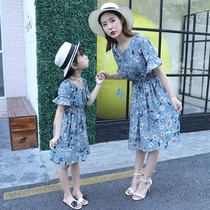 Parent-child loaded 2019 Korean version of the new floral dress slim mother and daughter Summer thin chiffon skirt long section