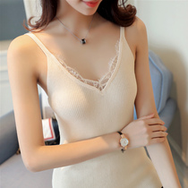 Sexy lace knit suspenders leak shoulders shirt careful machine small fresh vest female summer wear underwear ride