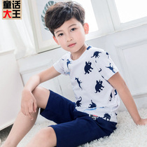 Summer childrens pajamas boys home service cotton children short-sleeved baby thin section boy air conditioning suit summer